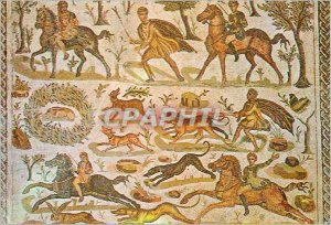 Postcard Modern Tunisia mosaic of museum of hunting hounds bard has