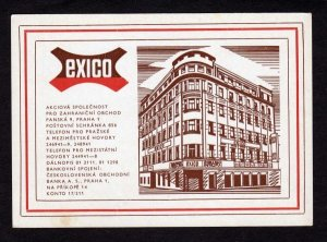 Czechoslovakia EXICO Bldg Praha ? Czech Republic Postcard Carte Postale