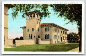 Lakeland Florida~Spanish Revival City Hall w/Italianate Belltower~1920s Postcard