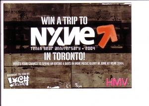 Win a Trip to NXNE Music Festival Entry Postcard 2004 HMVrplane