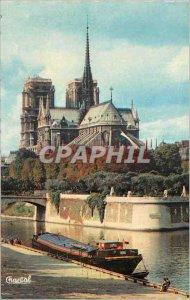 Modern Postcard Notre Dame Paris Boat