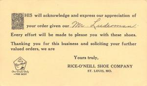 St Louis MO Rice-O'Neill Shoe Company Ad Postal~Wentachee~Douglas Boat Shop 1939
