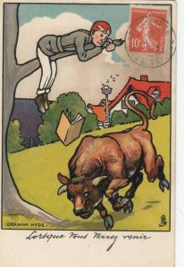 Man up tree, Bull running, PU-1914; AS; Graham Hyde, TUCK Serie 432
