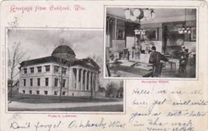 Wisconsin Greetings From Oshkosh Public Library & Reading Room 1906
