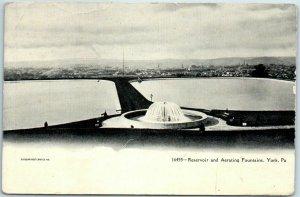 1911 YORK Pennsylvania Postcard Reservoir & Aerating Fountains Bird's-Eye View