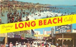 Greetings from Long Beach, California unused Postcard