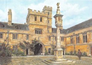 Postcard Art Corpus Christi College, Oxford by Sue Firth Large 170x120mm
