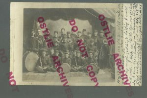 Omro WISCONSIN RPPC 1907 BAND STUDIO SHOT nr Oshkosh Berlin Ripon Winneconne