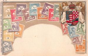 Hungary, Classic Stamps in Actual Colors, Early Embossed Postcard, Unused
