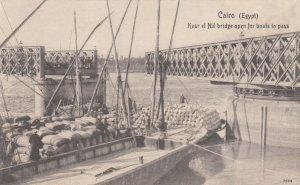 CAIRO , Egypt , 00-10s ; Kasr el Nil Bridge open for boat to pass