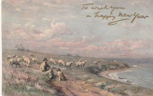 The Shepherd in Spring , Happy New Year , 1900-1907 ; TUCK 2737