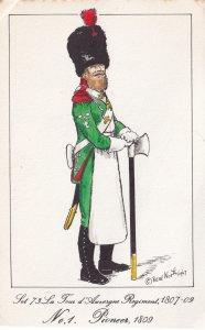 French Tours D'Auvergne Pioneer Soldier Napoleonic War Uniform PB Postcard