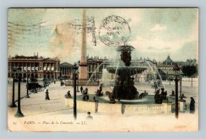 Paris, Place de la Concorde, Vintage France c1905 Postcard