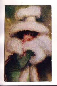 Beautiful Woman with Elaborate  FurMuff and Hat