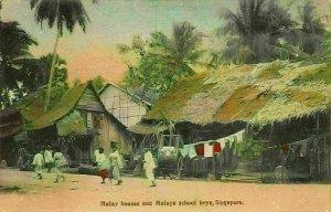 Singapore Malay Houses and Malays School Boys Postcard