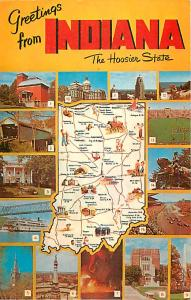 Greetings from Indiana The Hoosier State Map Card IN