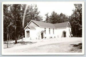 Houghton Lake Michigan~Episcopal Church in Woods~1940s RPPC