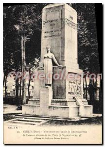 Old Postcard Senlis Oise Monument marking the extreme limit of the German adv...