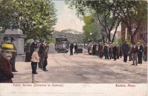 Massachusetts Boston Public Garden Trolley At Entrance To Subway 1912