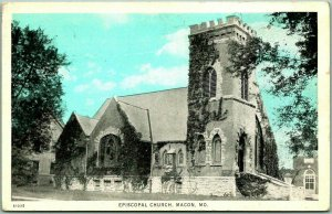 Macon, Missouri Postcard EPISCOPAL CHURCH Building View Taylor's Book Store 1928