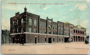 Topeka, Kansas Postcard Fire Dept. HQ, City Hall & Auditorium 1912 Cancel