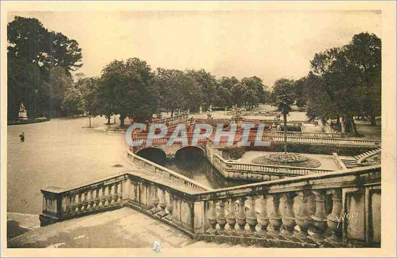 Postcard Old sweet Monument France Garden Fountain Nimes Overview of the Roma...