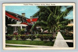 Miami, FL-Florida, Residential Home With Tropical Foliage, Vintage Postcard