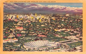Football Stadium Postcard Air View Showing Los Angeles and Coliseum Los Angel...