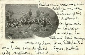 indochina, Cambodia, Group of Khas Warriors, Spears and Shield (1903) Postcard