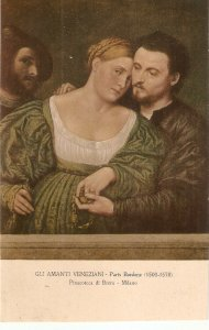 Paris Bordone. Gli Amanti Veneziani Fine painting, cintage Italian postcard
