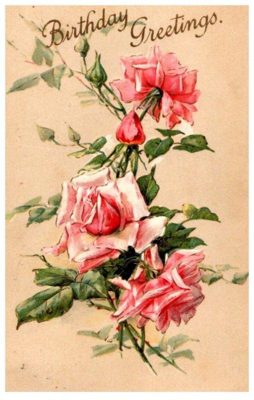 Birthday Greetings , , pink roses , flowers , embossed
