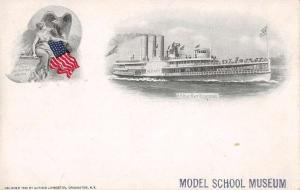 Hudson River Steamboat Souvenir Card Private Mail Antique PC J44504