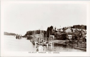 Ucluelet Harbour BC Vancouver Island Boats Unused Real Photo Postcard G34
