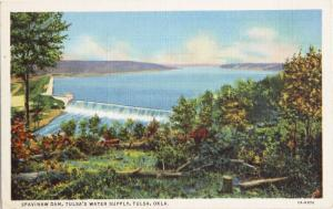 Spavinaw Dam Tulsa's Water Supply Tulsa OK Unused Vintage Linen Postcard D33