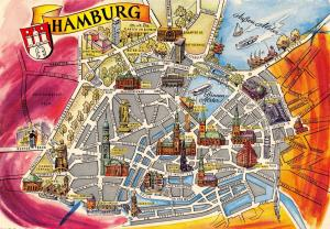 Germany Hamburg City Plan Street Map Karte Carte Postcard Postkarte Postale 3E