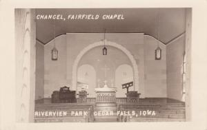 RP: CEDAR FALLS, Iowa, 1950; Interior, Chancel, Fairfield Chapel, Riverview Park