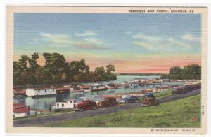 Municipal Boat Harbor Louisville Kentucky linen postcard