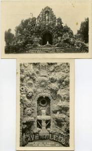 (2 cards) RPPC Immaculate Conception Grotto Carroll Iowa and Grotto at West Bend