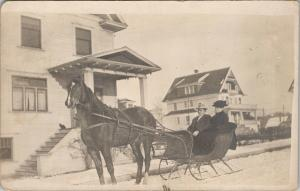 Man & Woman in Horse Carriage Buggy Unknown Location Real Photo Postcard E51