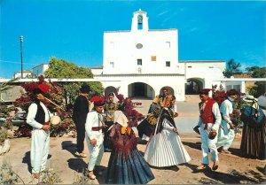 Spain ibiza costumes native dance folk postcard