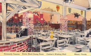 Miami Florida~Robin Hood Dining Room~Cashiers Wishing Well~1940s Linen Postcard