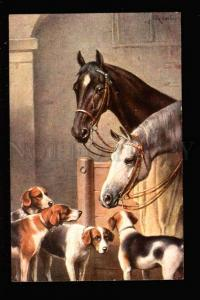 032086 HORSES & HOUNDS in Stable. By REICHERT old
