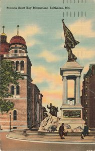 Postcard Francis Scott Key Monument Baltimore Maryland Posted 1942