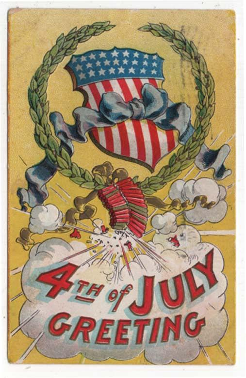 Vintage Fourth of July Greetings Post Card, Exploding Firecrackers, 1909