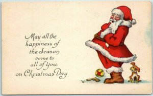 Vintage 1910s Christmas Postcard SANTA CLAUS Happiness of the Season… UNUSED