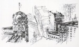 Market Street Two Sketch Views Aerial San Fransisco Painting Postcard