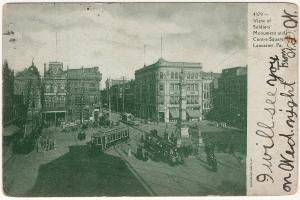 1907 Lancaster PA View of Soldiers' Monument Centre Square Trolley UDB Postcard