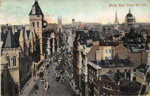 Birds Eye View of City Street Vintage Cars Postcard