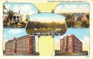Grand Forks North Dakota University Multiview Linen Antique Postcard K14306