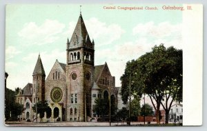 Galesburg Illinois~Central Congregational Church~Stained Glass~Shops Behind~1910